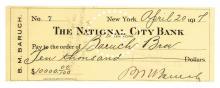 BERNARD M. BARUCH 1917 Autograph Document Signed Check