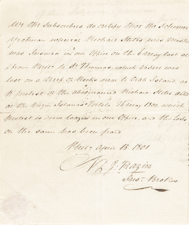 CLEMENT BIDDLE Partially Printed Document Thrice Signed