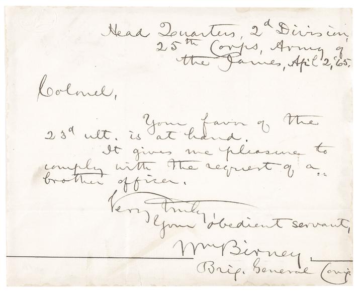 April 2, 1865 WILLIAM BIRNEY Autograph Letter Signed