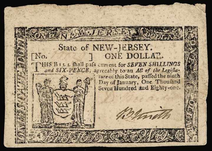 Colonial Currency, New Jersey. January 9, 1781. $1. Signed DAVID BREARLEY