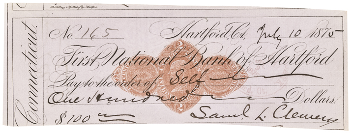 1875 Superbly Signed SAMUEL LANGHORNE CLEMENS (Mark Twain) Check