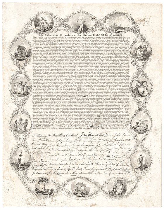 1836 Rare Miniature of the Declaration of Independence by L.H. Bridgham, Boston