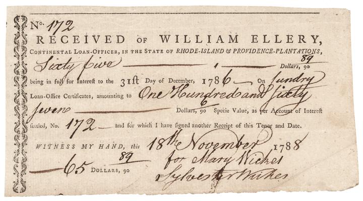 Unique 1788 WILLIAM ELLERY Continental Loan Office Rhode Island Interest Form