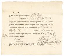 OLIVER ELLSWORTH, United States Constitution Drafter Signed Enlisting Document