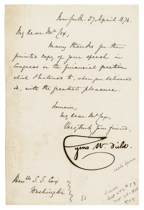 CYRUS W. FIELD, 1874 Autograph Letter Signed