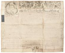 1800 KING GEORGE III Ornately Illustrated Manuscript Large Vellum Document