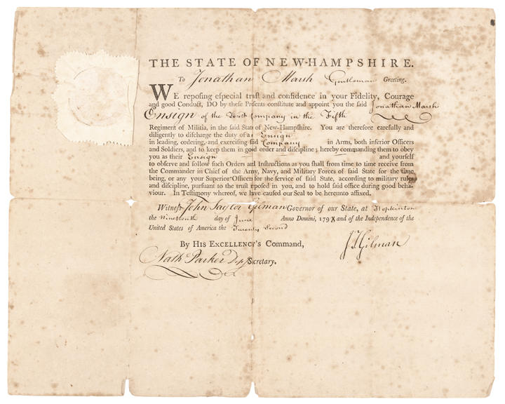 Military Appointment Signed by JOHN TAYLOR GILMAN as Governor of New Hampshire