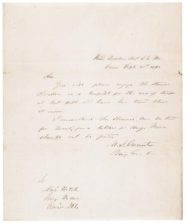 1861, Civil War Date Union General ULYSSES S. GRANT Autograph Letter Signed