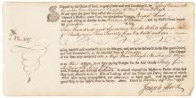 1772 JOHN HANCOCK Partially-Printed Hand Completed Document With His Autograph