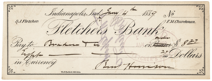 1889 President-Elect BENJAMIN HARRISON Autograph Signed Check