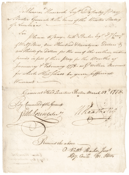 Continental Army Major General WILLIAM HEATH Signed Revolutionary War Document