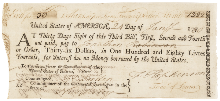 Declaration Signer FRANCIS HOPKINSON + JOSEPH BORDEN Continental Congress Loan