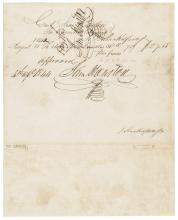 1844 President of Texas SAMUEL HOUSTON Twice Signed Document