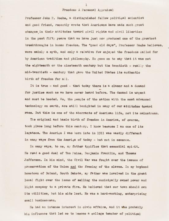 HUBERT HUMPHREY Autograph Signed Speech as Vice President under Lyndon Johnson