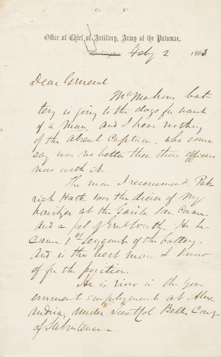 1863 HENRY JACKSON HUNT Chief of Artillery Union Army, Autograph Letter Signed