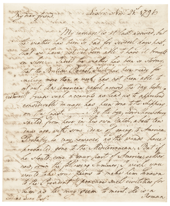 1792 DAVID HUMPHREYS Autograph Letter Signed
