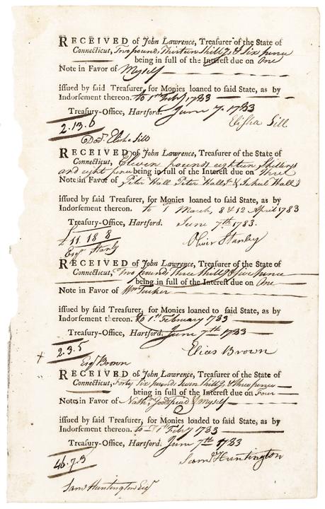 SAMUEL HUNTINGTON Signed 1782 Revolutionary War Interest Pay Note