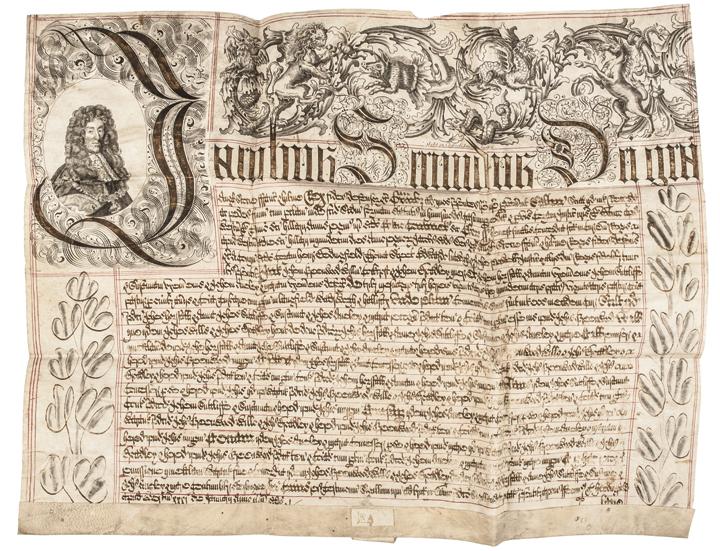 (JAMES II) King of England Vellum, Foot of the Fine, Ornate Manuscript Document