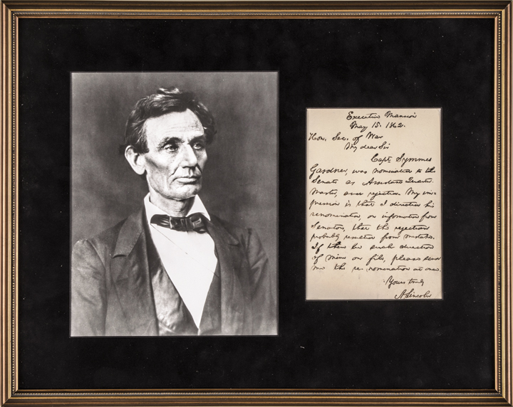 Superb 1862 Civil War ABRAHAM LINCOLN Letter to Secretary of War Edwin Stanton