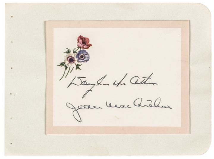 DOUGLAS MACARTHUR + JEAN MACARTHUR Autographed Card Signed