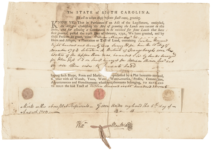 1793 WILLIAM MOULTRIE Land Grant Document Signed
