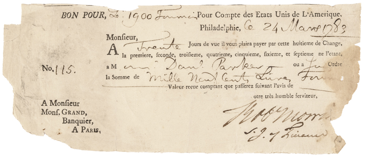 1783 Rev War Declar of Indepen Signer ROBERT MORRIS United States Debt Document