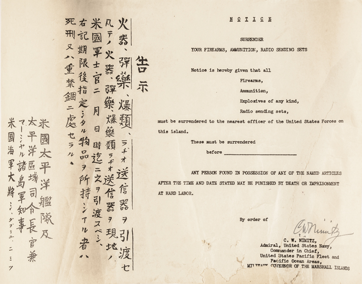 c 1944 CHESTER W NIMITZ Signed Document Establishing Marshall Islands Government