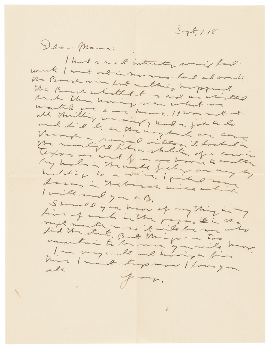 1918-Dated World War 1, GEORGE S. PATTON Autograph Letter Signed