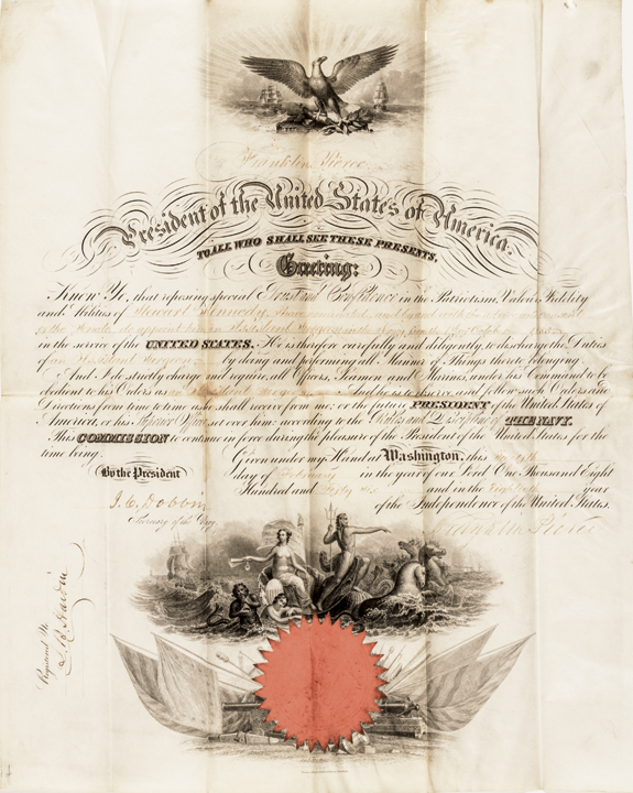 1856 President FRANKLIN PIERCE Signed Ornate Vellum Military Commission