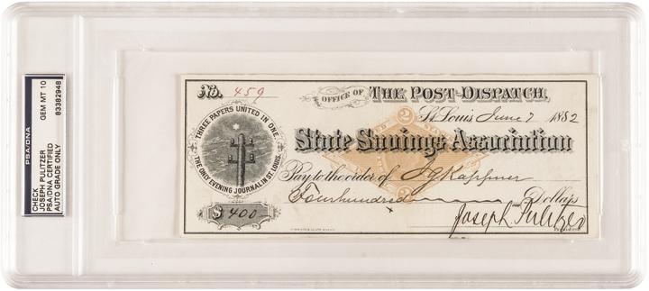 JOSEPH PULITZER Autograph, Signed Check PSA/DNA Certified GEM MINT 10