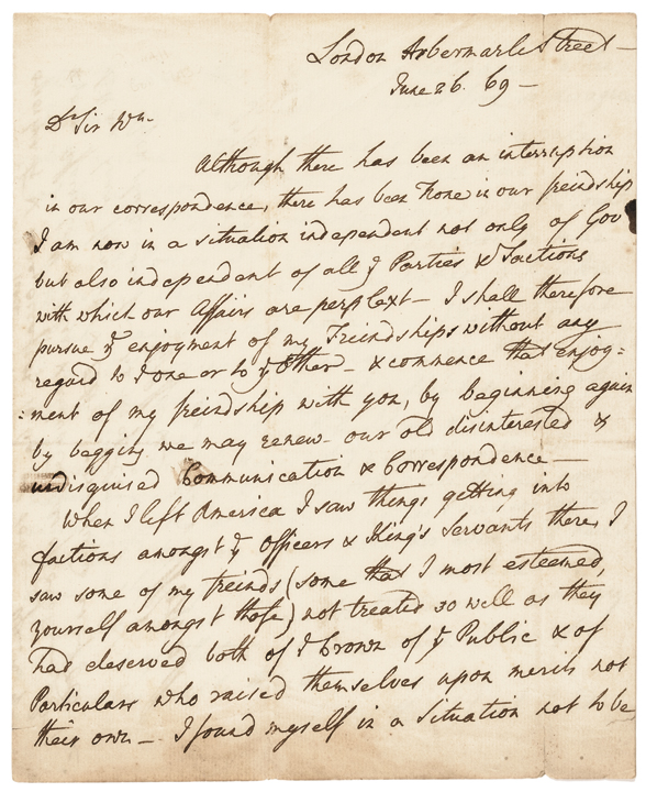 1769-Dated Colonial Pre-Revolutionary War THOMAS POWNALL Autograph Letter Signed