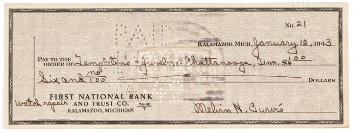 MELVIN H. PURVIS, JR. Autograph, Signed Check
