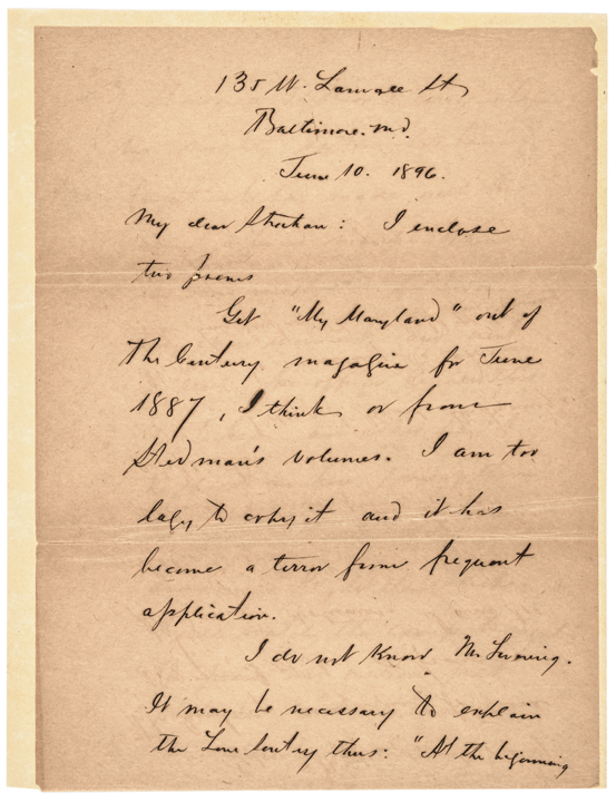 1896 JAMES R. RANDALL Author of Maryland, My Maryland Autograph Letter Signed
