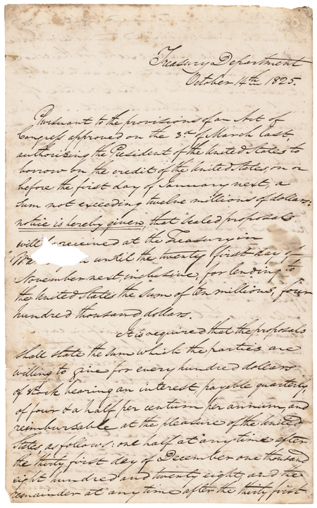 1825 RICHARD RUSH U.S. Treasury Secretary Manuscript Letter Signed