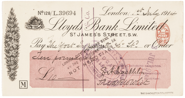 1914 Antarctic Explorer ERNEST H. SHACKLETON Autograph Signed Check Rarity