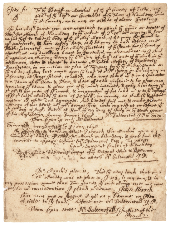 1698 Autograph Document Signed NATHANIEL SALTONSTALL, Salem Witch Trial Judge