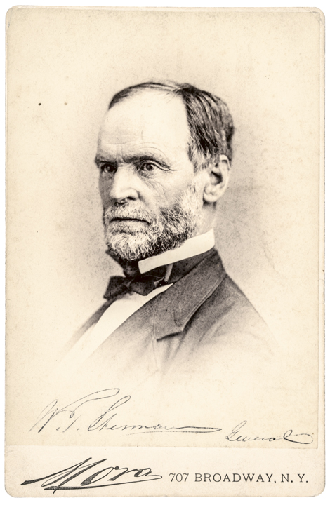 WILLIAM TECUMSEH SHERMAN Autographed Cabinet Card Union Major General