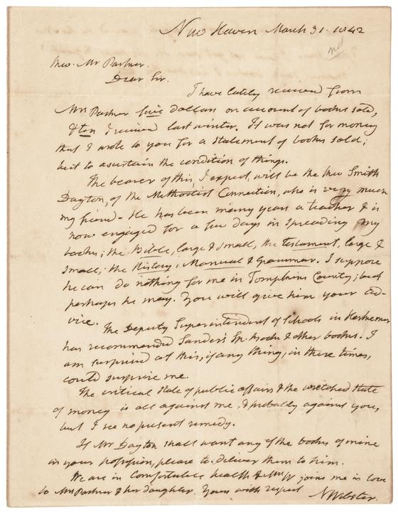 1842 NOAH WEBSTER ALS Promotes his Bible, Grammar and Dictionary Speller!