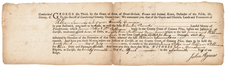 July 1776 Dated Document Signed by JAMES WILSON Declaration of Indepen. Signer!
