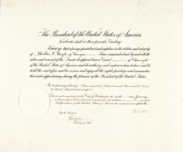 1916 Bold Large Signature of WOODROW WILSON Presidential Appointment