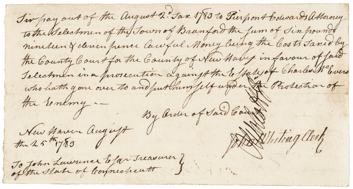 OLIVER WOLCOTT JR. Manuscript Document Signed Revolutionary War Date