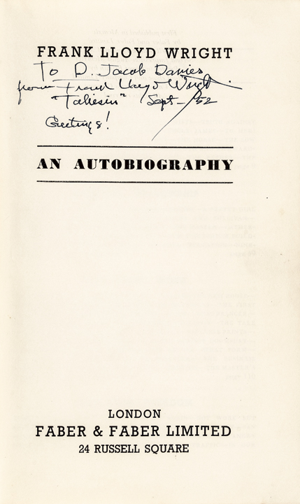 Architect Inscribed and Signed Book - FRANK LLOYD WRIGHT: An Autobiography