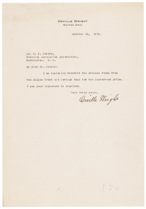 1928 Trio of ORVILLE WRIGHT Items with TWO Signed by Orville Wright