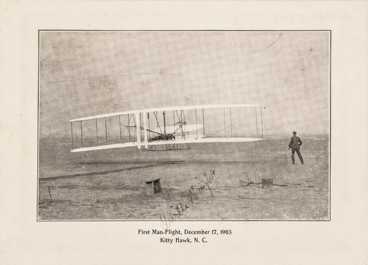 First Man-Flight Wonderful ORVILLE WRIGHT Signed Print