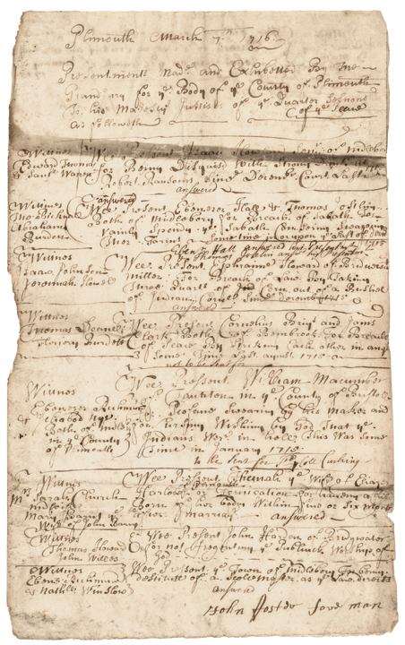 1716 Colonial Court Document Plymouth, Mass. Profane Swearing + for Fornication!