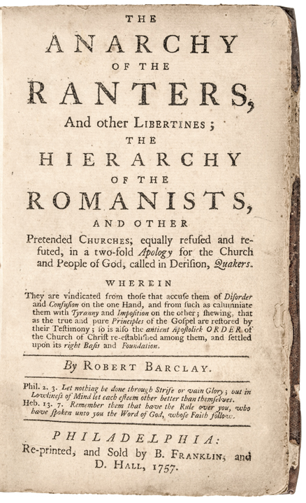 1757 BENJAMIN FRANKLIN Book: The Anarchy of the Ranters, and other Libertines