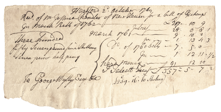 Hartford, October 2, 1764, Colonial Receipt In March bills of 1762