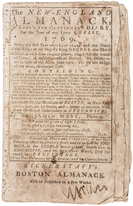 THE NEW-ENGLAND ALMANACK, 1769