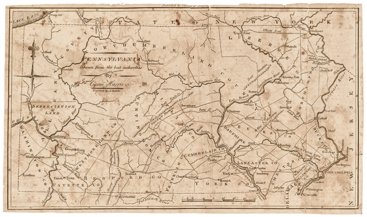 Map of Pennsylvania, By Cyrus Harris, Engraved by Amos Doolittle