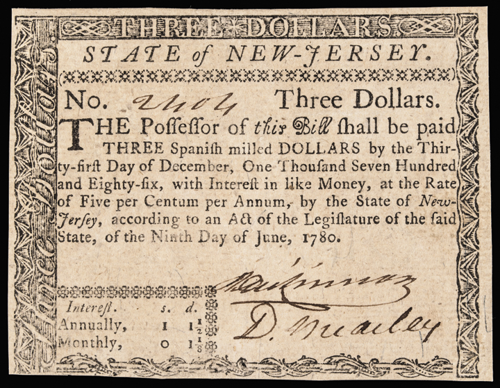 Colonial Currency, DAVID BREARLEY Signed 1780 New Jersey $3 Guaranteed Issue Note Ch CU